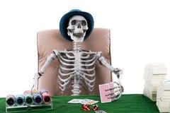 Покер игры картежника каркасный с стогом банкноты и обломоков дальше Стоковые Фотографии RF