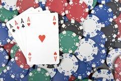 покер обломоков тузов Стоковые Изображения