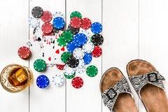 Покер средств массовой информации блога столба социальный Модель-макет плана шаблона знамени для онлайн казино Деревянная белая т стоковые изображения rf