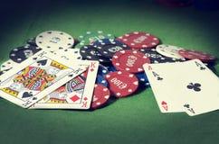 Покер Pareja de ases y pareja de reyes en Стоковое фото RF