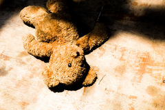 Покинутая концепция бездомные как одиночества плюшевого медвежонка куклы Стоковое фото RF