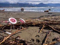 Покинутая прогулочная коляска вдоль пляжа Стоковое Изображение RF