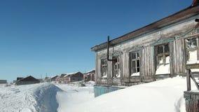 Покинутое город-привидение дома Gudym Anadyr-1 Chukotka далеко к северу от России акции видеоматериалы