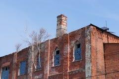 Покинутое здание фабрики в захолустном городке Zaraysk, области Москвы Стоковое Изображение