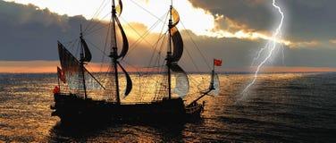 Покинутое историческое парусное судно в бурном море с переводом забастовки без предупреждения 3d бесплатная иллюстрация
