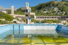 Покинутое lido на Родосе, Греции стоковое фото rf