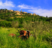 покинутое montepulciano около трактора Стоковые Изображения