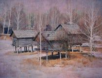 Покинутые деревянные дома на ходулях стоковые изображения