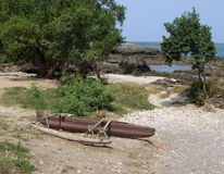 Покинутый аборигенный катамаран стоковое фото