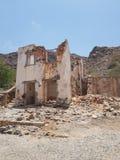 Покинутый дом в перспективе горжетки, Кабо-Верде стоковое изображение rf