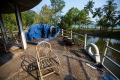Покинутый корабль в азиатских джунглях Природа Стоковая Фотография RF