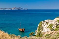 Покинутый корабль, Kolymbia, Родос Стоковое Изображение