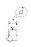 Покинутый котенок, принимает, животная жестокость, рука нарисованная иллюстрация Унылый бездомный котенок ища дом, эскиз вектора Стоковая Фотография RF