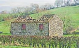 Покинутый дом или амбар в участках земли Йоркшира Стоковое Фото