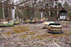 Покинутый парк атракционов в город-привидении Pripyat, Чернобыль Стоковая Фотография RF