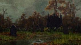 Покинутый погост в лесе осени в дожде иллюстрация штока