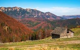 Покинутый старый покинутый амбар страны в горах Стоковые Фотографии RF