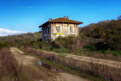 покинутый старый поезд станции Стоковые Фотографии RF