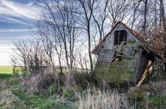 Покинутый woodshed около леса Стоковое фото RF