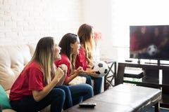 Поклонники футбола празднуя цель Стоковые Изображения RF