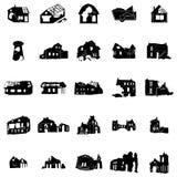 Поколоченные и сломанные силуэты домов Стоковая Фотография RF