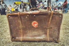 Поколоченный винтажный чемодан Стоковая Фотография