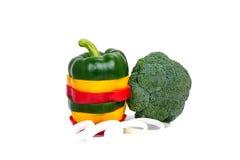3 покрасили изолят специй паприки перца красного болгарского перца смешивания желтого зеленого цвета вегетарианский зрелый Стоковая Фотография