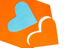 2 покрасили формы сердца отрезанный из бумаги Стоковое Фото