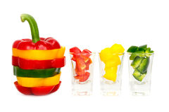 3 покрасили PA рецепта красного болгарского перца желтого зеленого цвета вегетарианское Стоковое фото RF