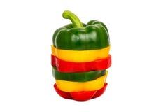 3 покрасили PA рецепта красного болгарского перца желтого зеленого цвета вегетарианское Стоковая Фотография