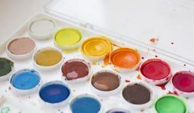 покрасьте акварель используемую комплектом Стоковое Фото