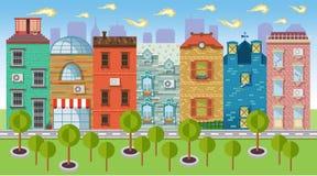 Покрасьте ландшафты иллюстраций вектора городские и городской иллюстрация вектора