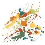 Покрасьте вектор предпосылки grunge пятен Футуристический splatter чернил, брызг закрывает, элементы пятна грязи, граффити стены иллюстрация штока