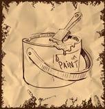 Покрасьте ведро и почистьте щеткой на винтажной предпосылке Стоковые Фото