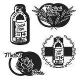 Покрасьте винтажные медицинские эмблемы трав заводов Стоковое Изображение