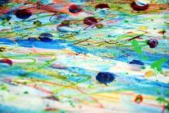 Покрасьте голубые белые красные пятна воска, творческий дизайн Стоковое фото RF