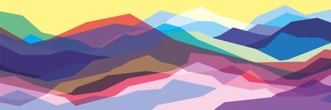 Покрасьте горы, просвечивающие волны, абстрактные стеклянные формы, современную предпосылку, иллюстрацию дизайна вектора для вас  иллюстрация вектора