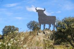 Покрасьте изображение афиши в форме быка в Испании Стоковые Фото