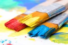 Покрасьте изображение на бумаге с щеткой Стоковое фото RF