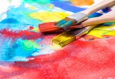 Покрасьте изображение на бумаге с щеткой Стоковая Фотография RF