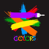 Покрасьте и щетка, цвета Иллюстрация вектора
