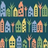 Покрасьте картину домов безшовную Стоковая Фотография RF