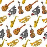 Покрасьте картину музыкальных инструментов безшовную иллюстрация вектора