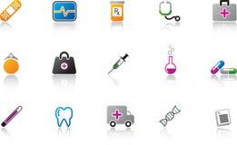 покрасьте комплект иконы медицинский Стоковые Фотографии RF