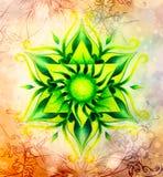 Покрасьте орнаментальную мандалу и мягко запачканную предпосылку акварели Стоковое Изображение