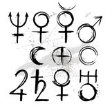 покрасьте покрашенный символ планет иллюстрация вектора