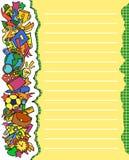 Покрасьте предпосылку с инструментами школы на левом крае Стоковое Изображение RF