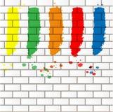 Покрасьте пятна на кирпичной стене Стоковое фото RF