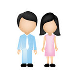 покрасьте силуэт безликий с папой и мамой в официально одеждах и волосах брюнет Стоковые Изображения