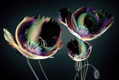 Покрасьте стеклянный цветок изолированный на черноте, маке иллюстрация штока